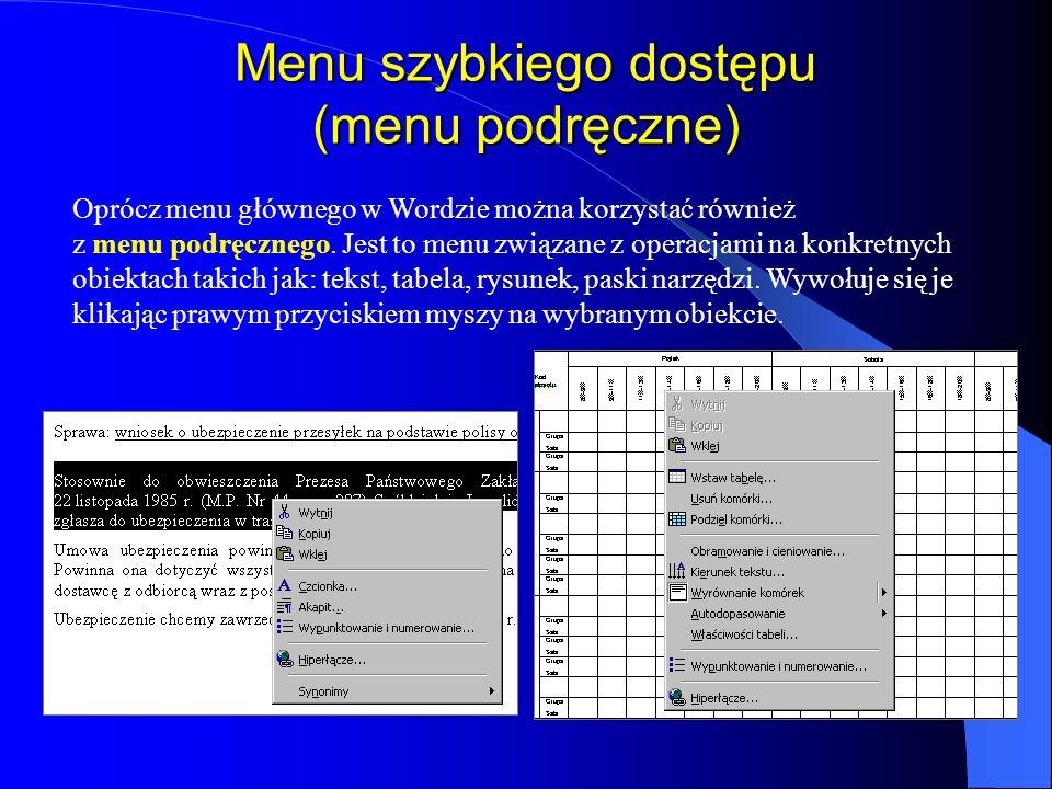 Menu główne kliknąć myszką wybraną pozycję np. Plik, wcisnąć klawisz funkcyjny F10 (uaktywnienie menu) a następnie klawiszami kierunkowymi ustawić się