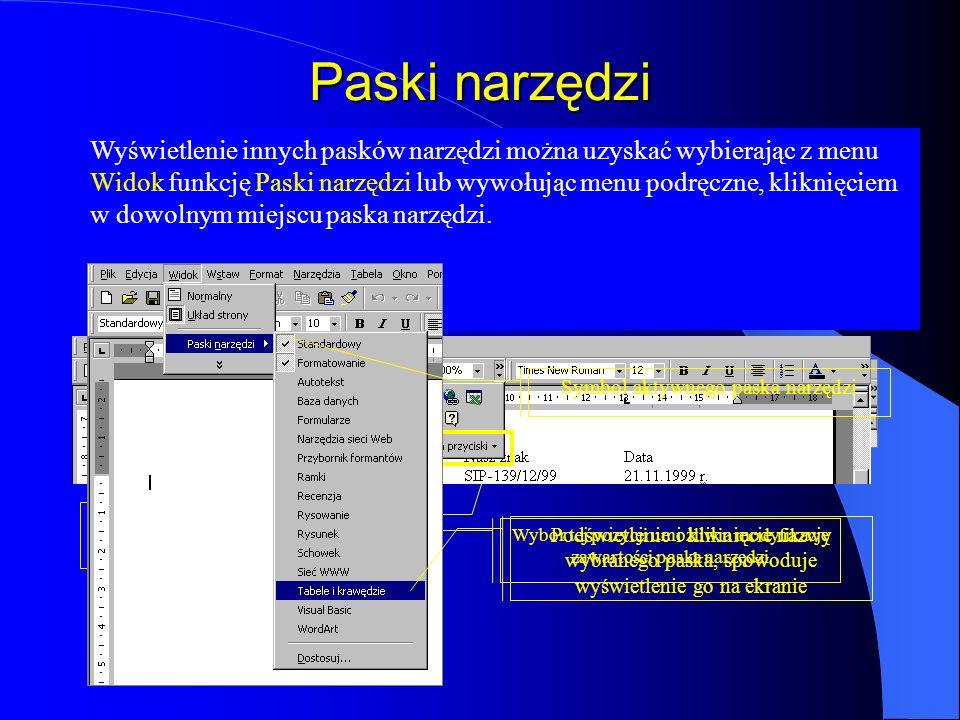 Menu szybkiego dostępu (menu podręczne) Oprócz menu głównego w Wordzie można korzystać również z menu podręcznego. Jest to menu związane z operacjami