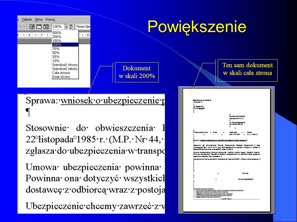 Obszar edycji tekstu Wygląd edytowanego tekstu na ekranie w dużej mierze zależy od sposobu wyświetlania, który można zmienić wybierając odpowiednią op
