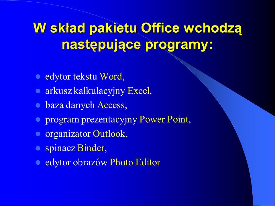 Edytor tekstu Word Programy z pakietu biurowego Microsoft Office