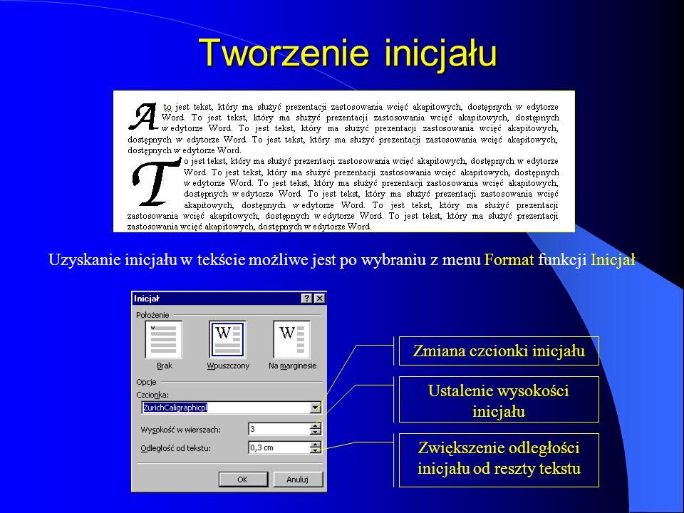 Zmiana wielkości liter Zaznaczony tekst, w którym będzie zmieniona wielkość liter z małych na duże Opcje Tekst po włączeniu opcji WIELKIE LITERY