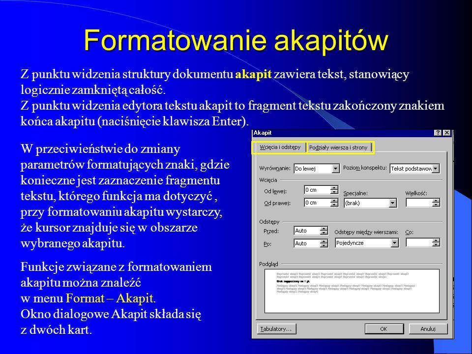 Tworzenie inicjału Uzyskanie inicjału w tekście możliwe jest po wybraniu z menu Format funkcji Inicjał Zmiana czcionki inicjału Ustalenie wysokości in