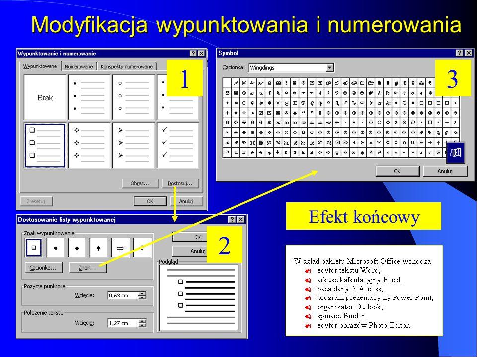 Wypunktowanie i numerowanie WypunktowanieNumerowanie Opcje związane z formatowaniem numerowania i wypunktowania znajdują się w menu Format-Wypunktowan