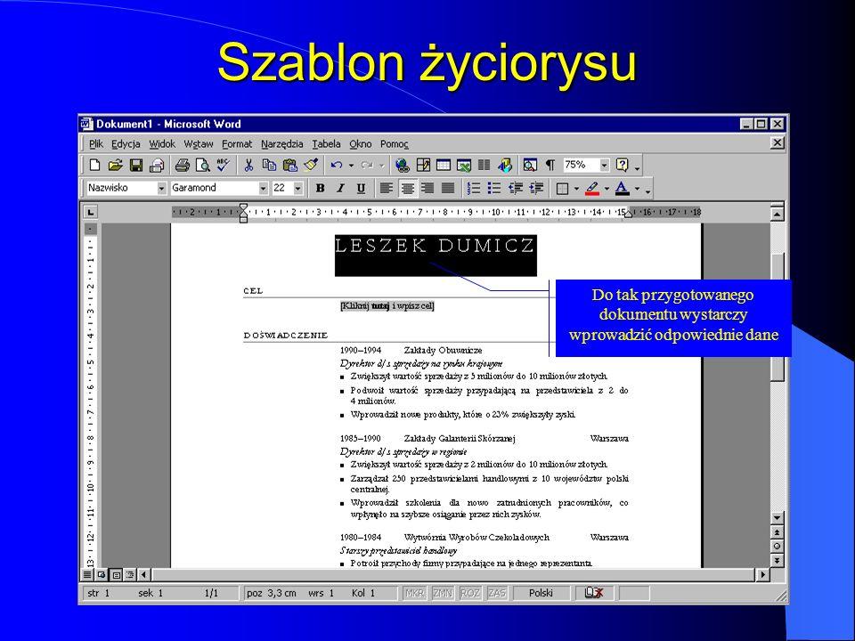 Rozpoczęcie pracy Kliknięcie ikony WordaKliknięcie ikony Nowy dokument Office Wybór pustego dokumentu Wybór jednego z gotowych szablonów Worda Program