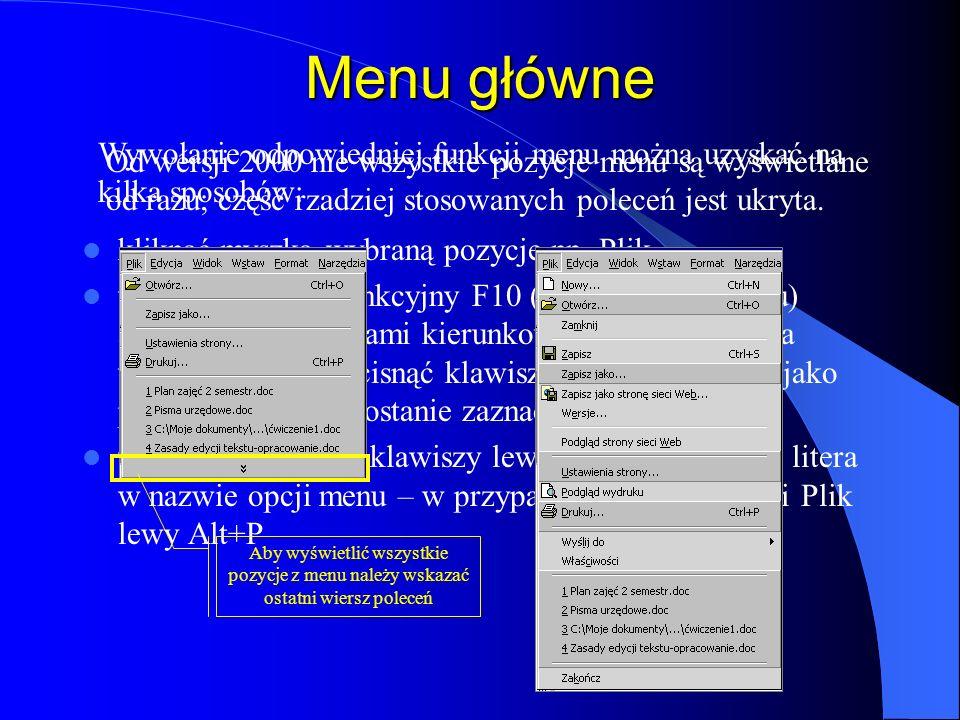 Elementy okna edytora Word Pasek tytułu wskazujący program i nazwę aktywnego dokumentu Przyciski sterujące oknem programu i oknem dokumentu Przyciski