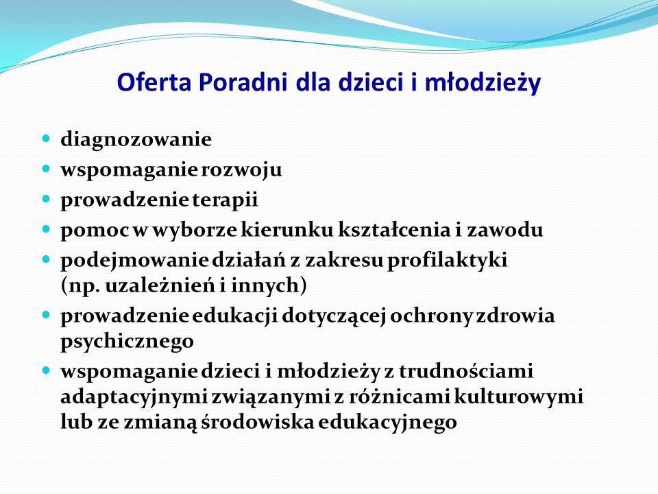 Oferta Oferujemy profesjonalną pomoc: p sychologiczną pedagogiczną logopedyczną