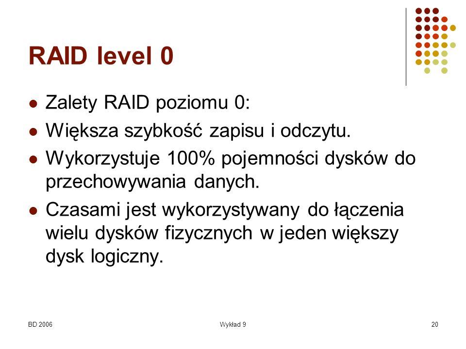 BD 2006Wykład 920 RAID level 0 Zalety RAID poziomu 0: Większa szybkość zapisu i odczytu. Wykorzystuje 100% pojemności dysków do przechowywania danych.