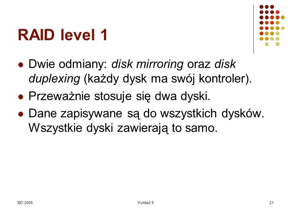 BD 2006Wykład 921 RAID level 1 Dwie odmiany: disk mirroring oraz disk duplexing (każdy dysk ma swój kontroler). Przeważnie stosuje się dwa dyski. Dane