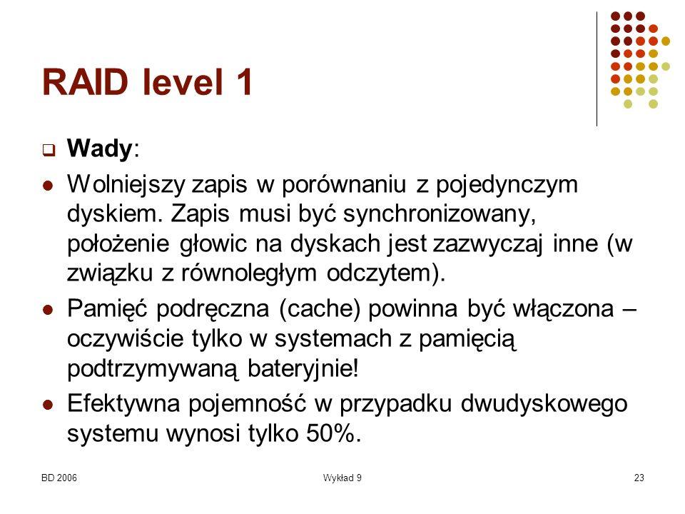 BD 2006Wykład 923 RAID level 1 Wady: Wolniejszy zapis w porównaniu z pojedynczym dyskiem. Zapis musi być synchronizowany, położenie głowic na dyskach