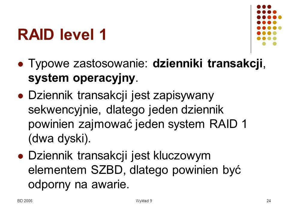 BD 2006Wykład 924 RAID level 1 Typowe zastosowanie: dzienniki transakcji, system operacyjny. Dziennik transakcji jest zapisywany sekwencyjnie, dlatego