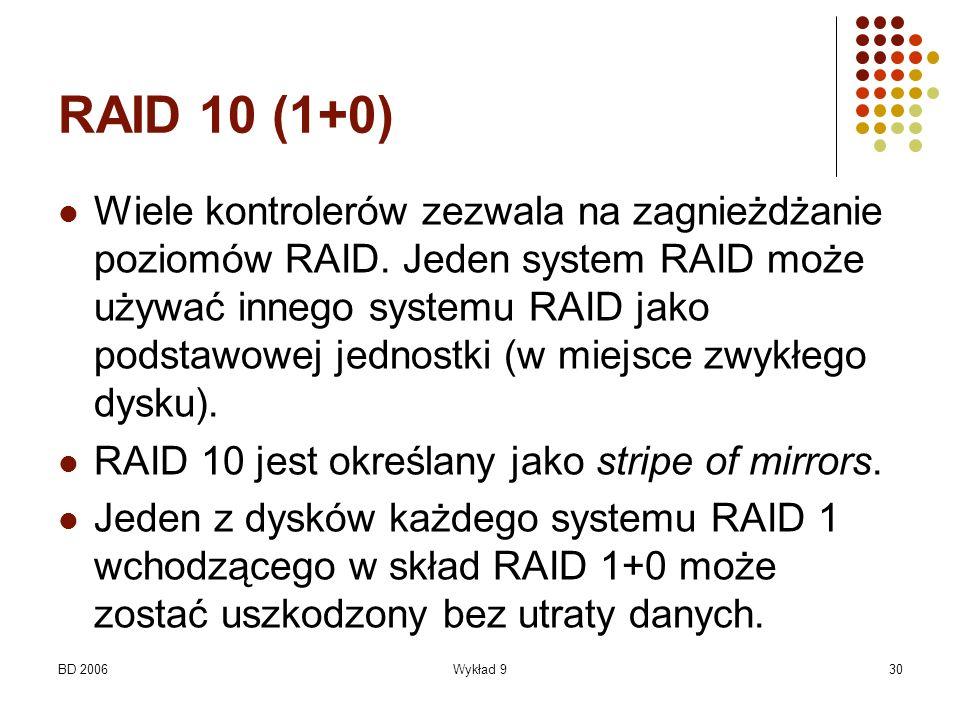 BD 2006Wykład 930 RAID 10 (1+0) Wiele kontrolerów zezwala na zagnieżdżanie poziomów RAID. Jeden system RAID może używać innego systemu RAID jako podst