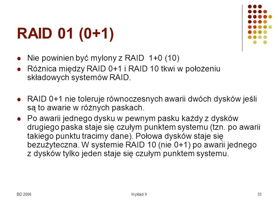 BD 2006Wykład 933 RAID 01 (0+1) Nie powinien być mylony z RAID 1+0 (10) Różnica między RAID 0+1 i RAID 10 tkwi w położeniu składowych systemów RAID. R