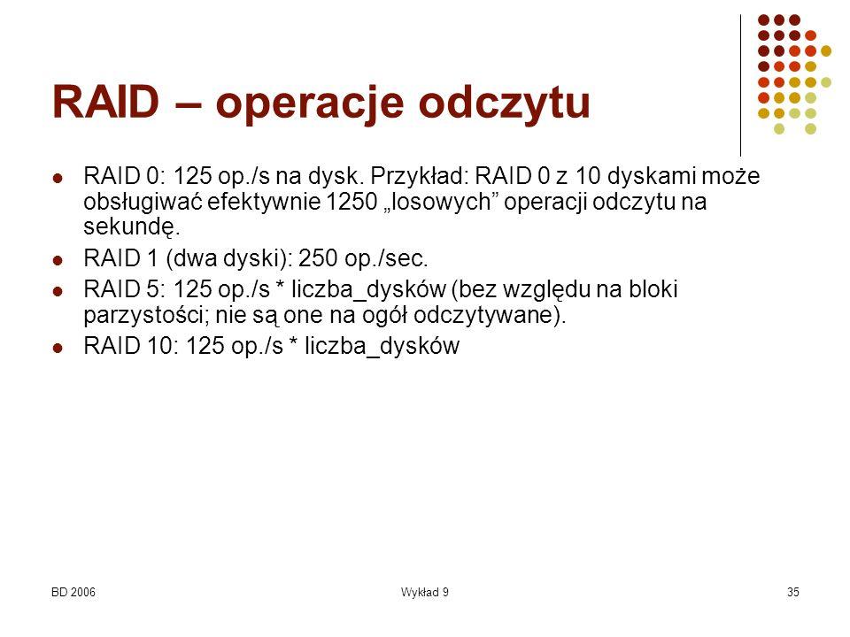 BD 2006Wykład 935 RAID – operacje odczytu RAID 0: 125 op./s na dysk. Przykład: RAID 0 z 10 dyskami może obsługiwać efektywnie 1250 losowych operacji o