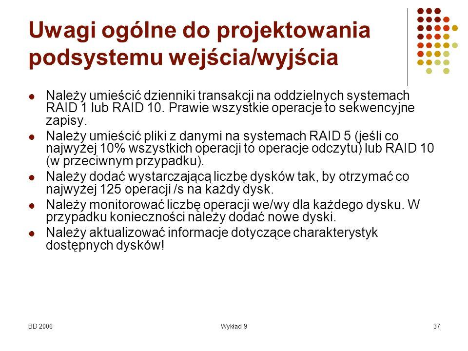 BD 2006Wykład 937 Uwagi ogólne do projektowania podsystemu wejścia/wyjścia Należy umieścić dzienniki transakcji na oddzielnych systemach RAID 1 lub RA