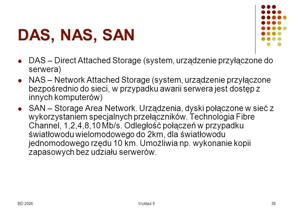 BD 2006Wykład 938 DAS, NAS, SAN DAS – Direct Attached Storage (system, urządzenie przyłączone do serwera) NAS – Network Attached Storage (system, urzą
