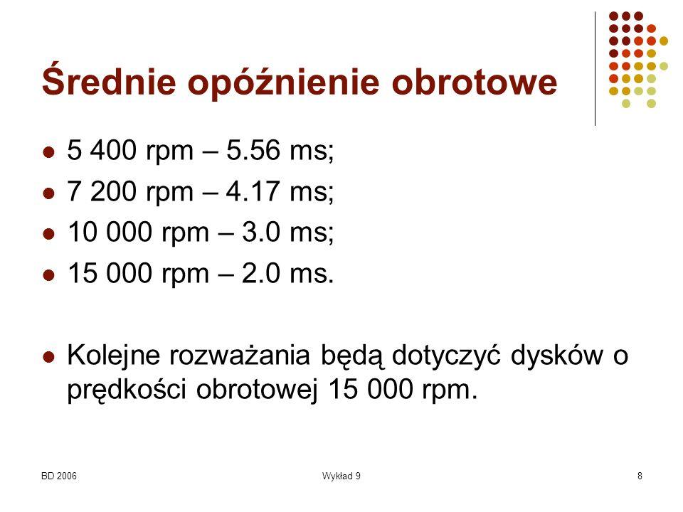BD 2006Wykład 98 Średnie opóźnienie obrotowe 5 400 rpm – 5.56 ms; 7 200 rpm – 4.17 ms; 10 000 rpm – 3.0 ms; 15 000 rpm – 2.0 ms. Kolejne rozważania bę