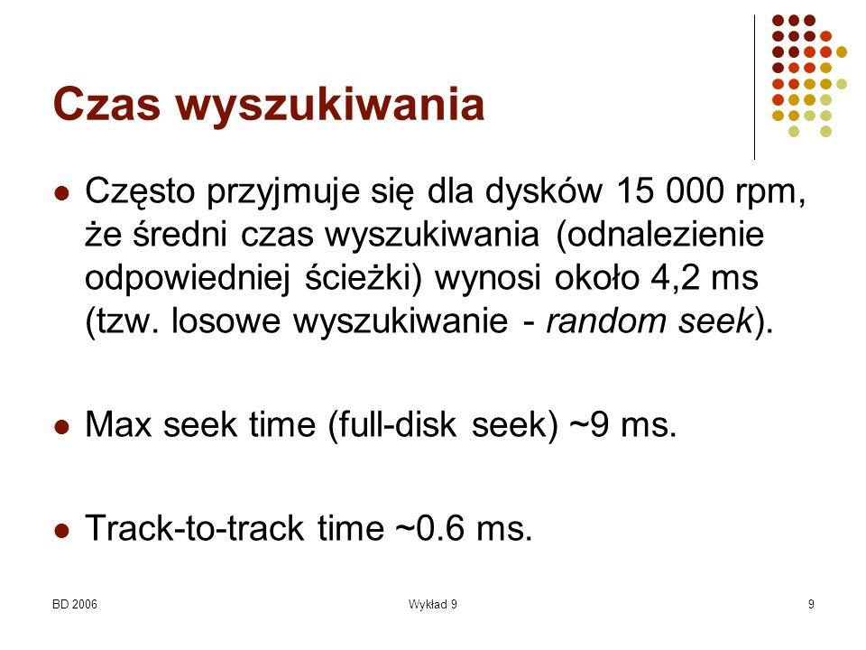BD 2006Wykład 99 Czas wyszukiwania Często przyjmuje się dla dysków 15 000 rpm, że średni czas wyszukiwania (odnalezienie odpowiedniej ścieżki) wynosi