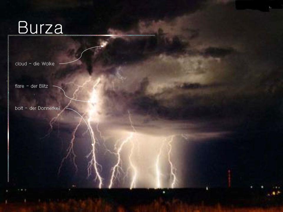 Burza bolt - der Donnerkeil cloud - die Wolke flare - der Blitz