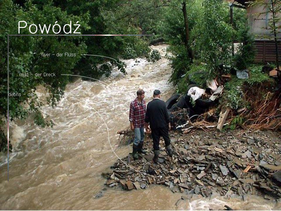 Powódź river – der Fluss mud - der Dreck debris - die Schutt