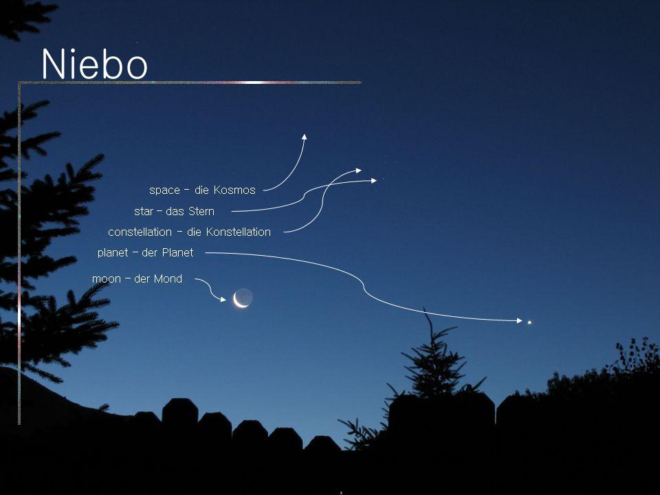 Niebo moon – der Mond planet – der Planet star – das Stern constellation - die Konstellation space - die Kosmos