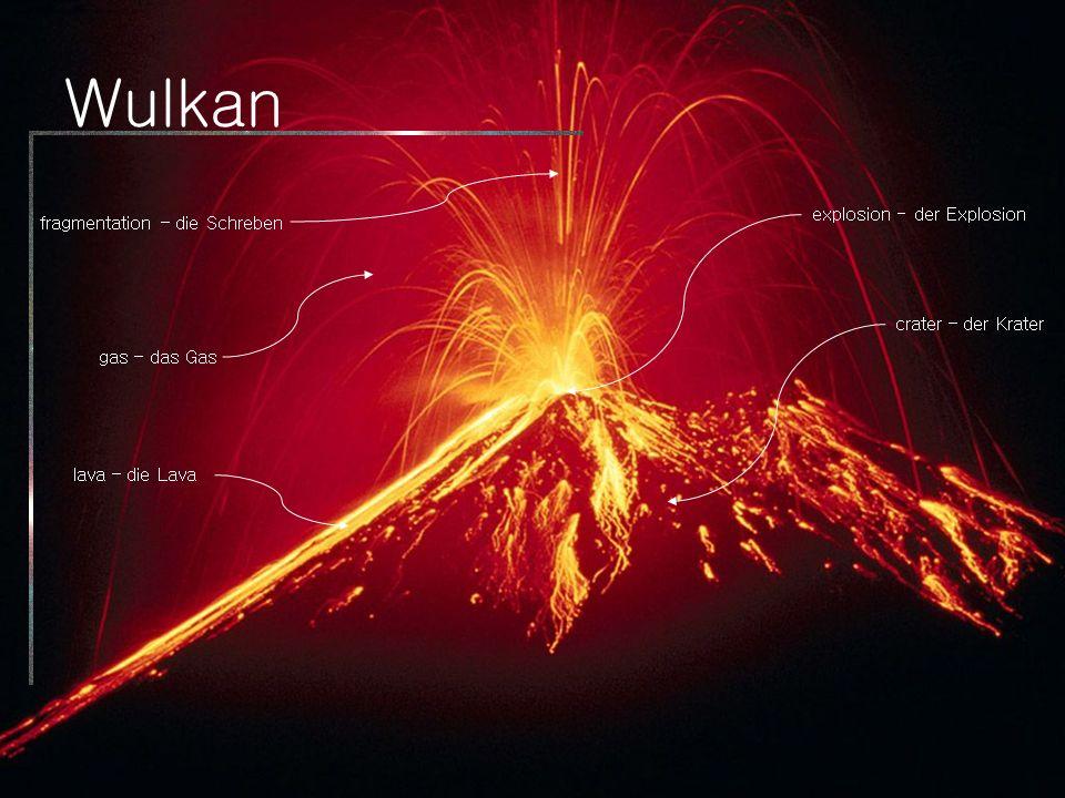 Wulkan crater – der Krater lava – die Lava explosion - der Explosion fragmentation – die Schreben gas – das Gas