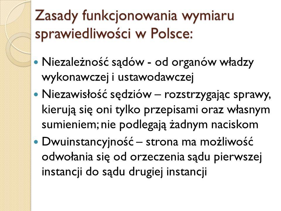 Zasady funkcjonowania wymiaru sprawiedliwości w Polsce: Niezależność sądów - od organów władzy wykonawczej i ustawodawczej Niezawisłość sędziów – rozs