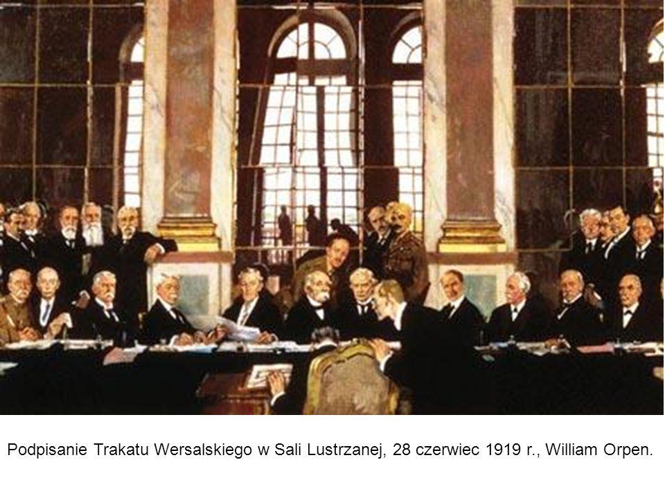 Podpisanie Trakatu Wersalskiego w Sali Lustrzanej, 28 czerwiec 1919 r., William Orpen.