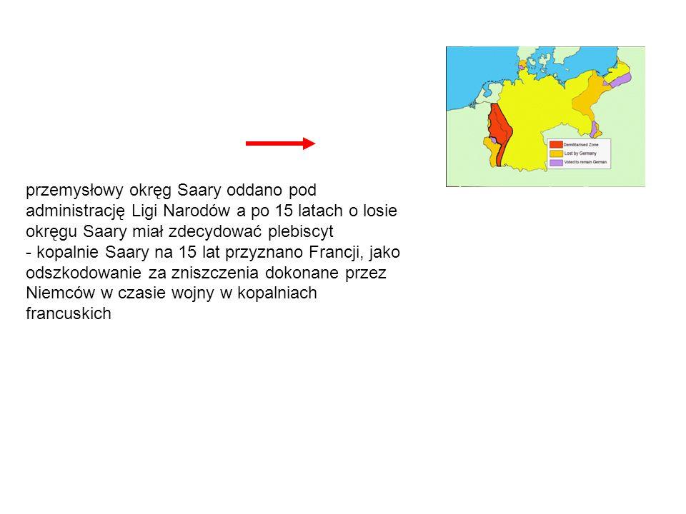 przemysłowy okręg Saary oddano pod administrację Ligi Narodów a po 15 latach o losie okręgu Saary miał zdecydować plebiscyt - kopalnie Saary na 15 lat