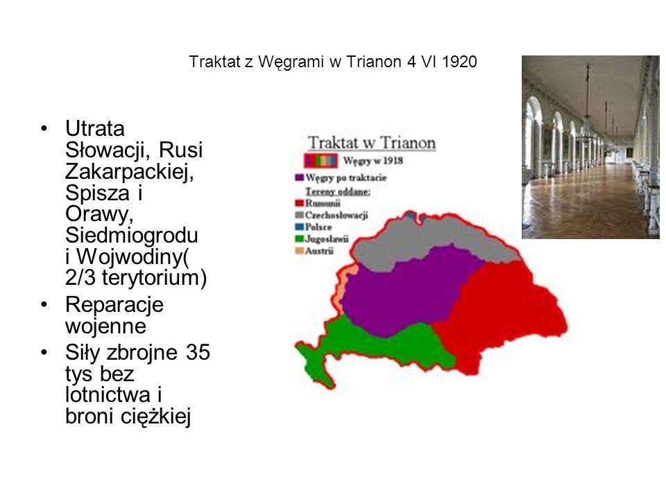 Traktat z Węgrami w Trianon 4 VI 1920 Utrata Słowacji, Rusi Zakarpackiej, Spisza i Orawy, Siedmiogrodu i Wojwodiny( 2/3 terytorium) Reparacje wojenne