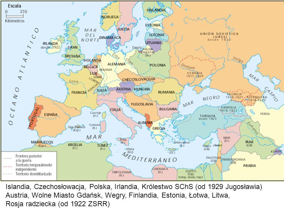 Islandia, Czechosłowacja, Polska, Irlandia, Królestwo SChS (od 1929 Jugosławia) Austria, Wolne Miasto Gdańsk, Wegry, Finlandia, Estonia, Łotwa, Litwa,