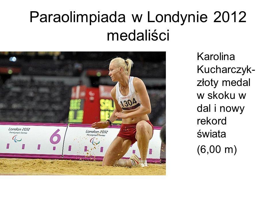 Paraolimpiada w Londynie 2012 medaliści Karolina Kucharczyk- złoty medal w skoku w dal i nowy rekord świata (6,00 m)