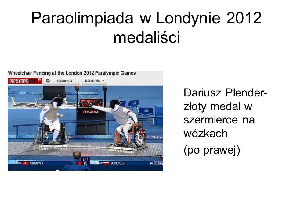 Paraolimpiada w Londynie 2012 medaliści Dariusz Plender- złoty medal w szermierce na wózkach (po prawej)