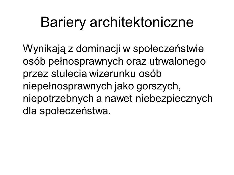 Bariery architektoniczne Wynikają z dominacji w społeczeństwie osób pełnosprawnych oraz utrwalonego przez stulecia wizerunku osób niepełnosprawnych ja
