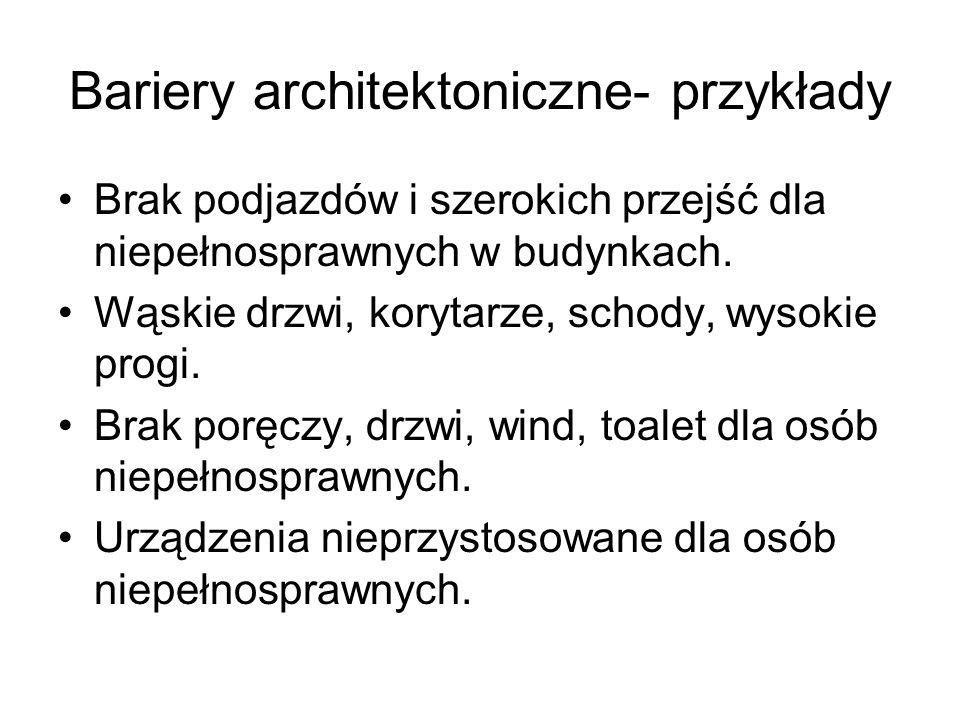 Bariery architektoniczne- przykłady Brak podjazdów i szerokich przejść dla niepełnosprawnych w budynkach. Wąskie drzwi, korytarze, schody, wysokie pro