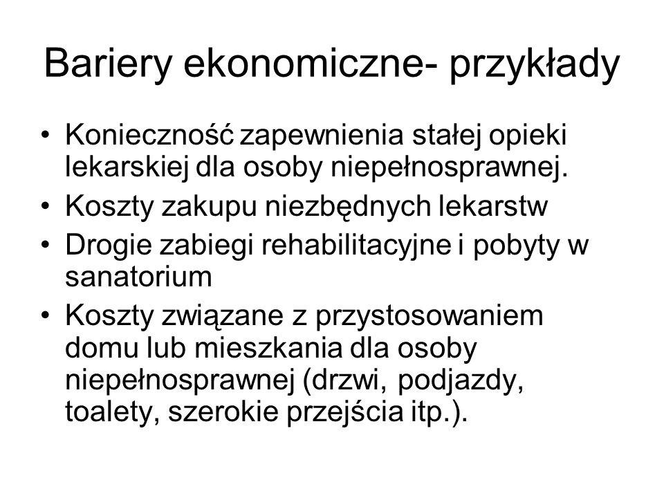 Bariery ekonomiczne- przykłady Konieczność zapewnienia stałej opieki lekarskiej dla osoby niepełnosprawnej. Koszty zakupu niezbędnych lekarstw Drogie