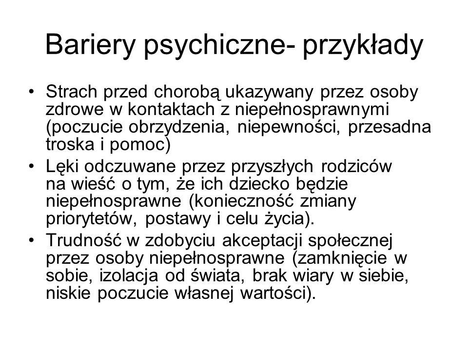 Bariery psychiczne- przykłady Strach przed chorobą ukazywany przez osoby zdrowe w kontaktach z niepełnosprawnymi (poczucie obrzydzenia, niepewności, p