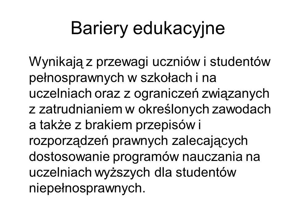 Bariery edukacyjne Wynikają z przewagi uczniów i studentów pełnosprawnych w szkołach i na uczelniach oraz z ograniczeń związanych z zatrudnianiem w ok