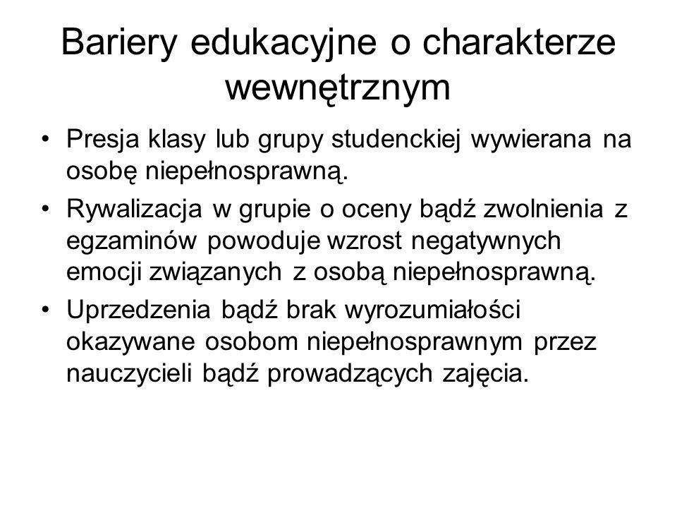 Bariery edukacyjne o charakterze wewnętrznym Presja klasy lub grupy studenckiej wywierana na osobę niepełnosprawną. Rywalizacja w grupie o oceny bądź