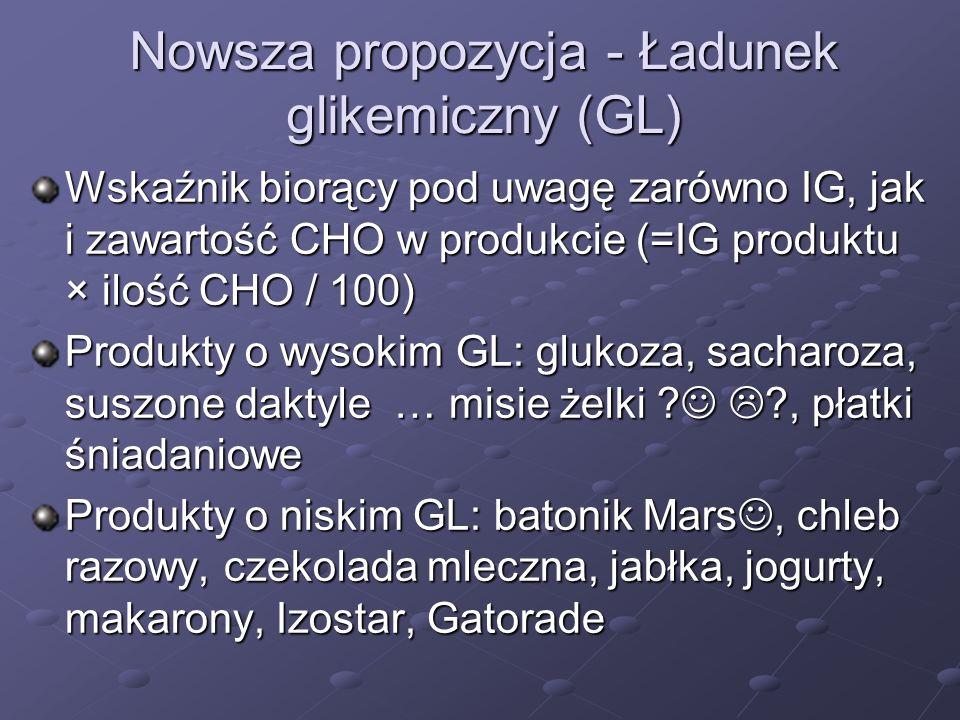 Nowsza propozycja - Ładunek glikemiczny (GL) Wskaźnik biorący pod uwagę zarówno IG, jak i zawartość CHO w produkcie (=IG produktu × ilość CHO / 100) P