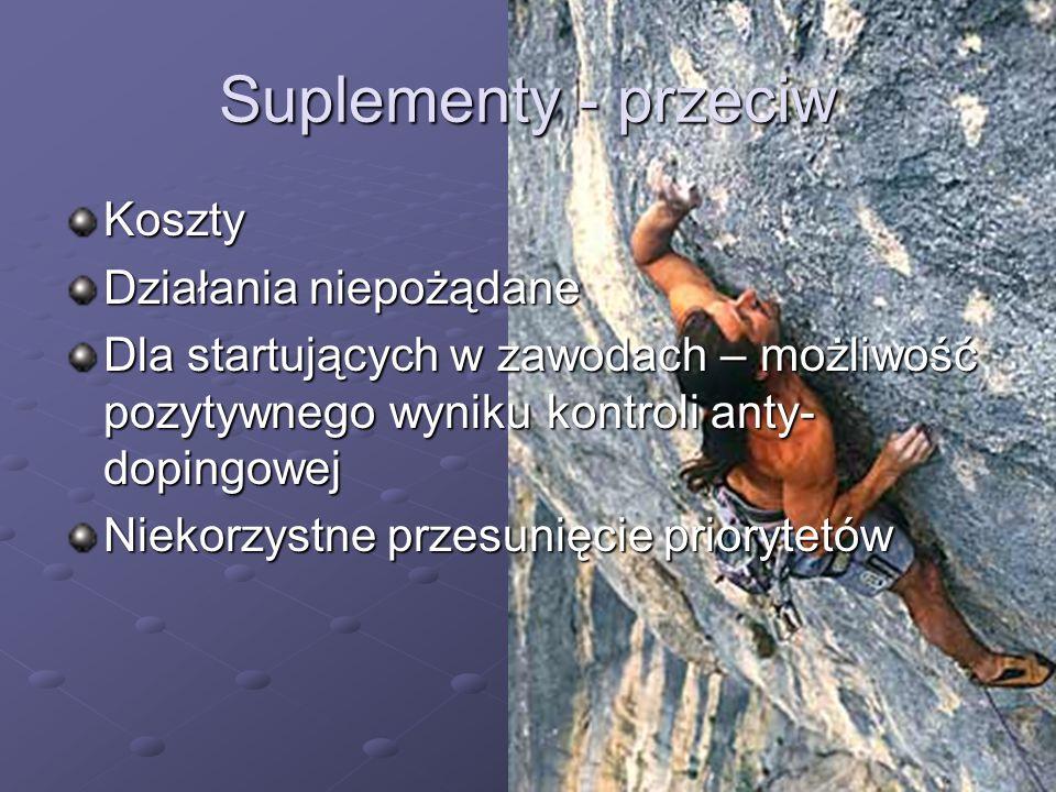 Suplementy - przeciw Koszty Działania niepożądane Dla startujących w zawodach – możliwość pozytywnego wyniku kontroli anty- dopingowej Niekorzystne pr