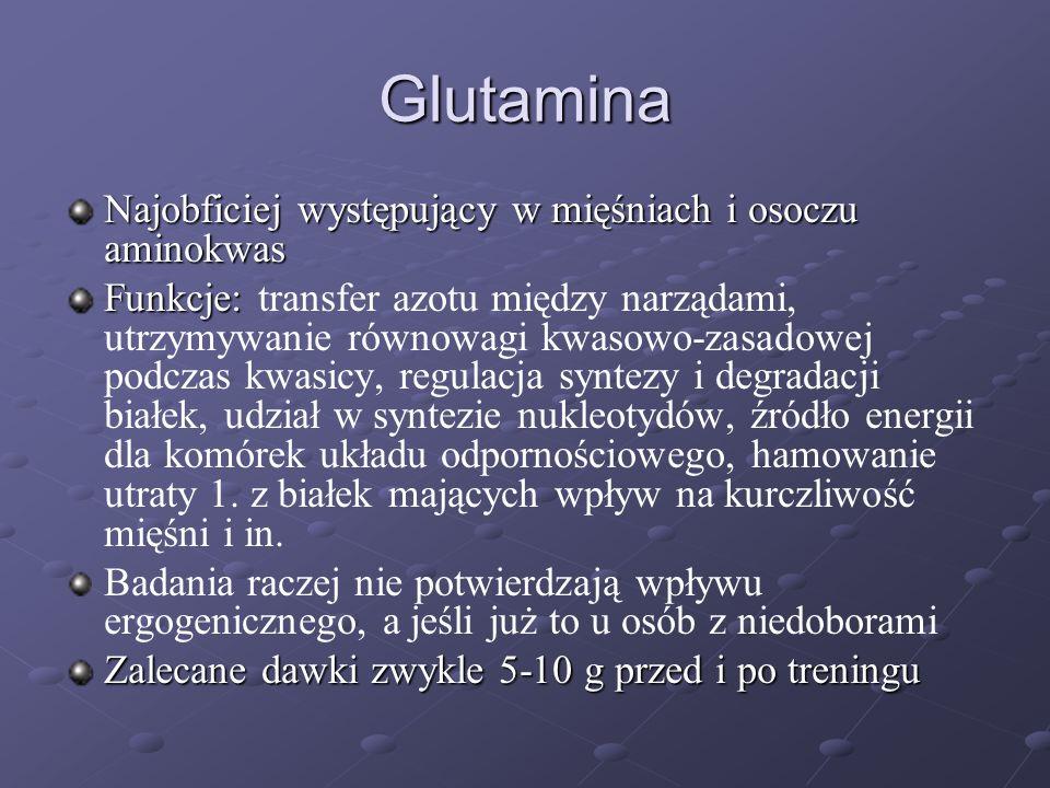 Glutamina Najobficiej występujący w mięśniach i osoczu aminokwas Funkcje: Funkcje: transfer azotu między narządami, utrzymywanie równowagi kwasowo-zas