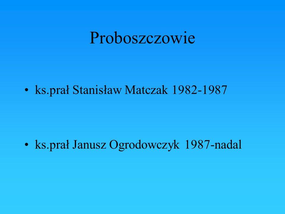 Proboszczowie ks.prał Stanisław Matczak 1982-1987 ks.prał Janusz Ogrodowczyk 1987-nadal