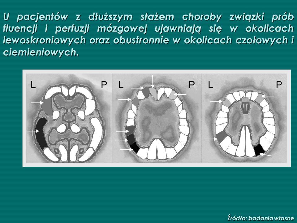U pacjentów z dłuższym stażem choroby związki prób fluencji i perfuzji mózgowej ujawniają się w okolicach lewoskroniowych oraz obustronnie w okolicach