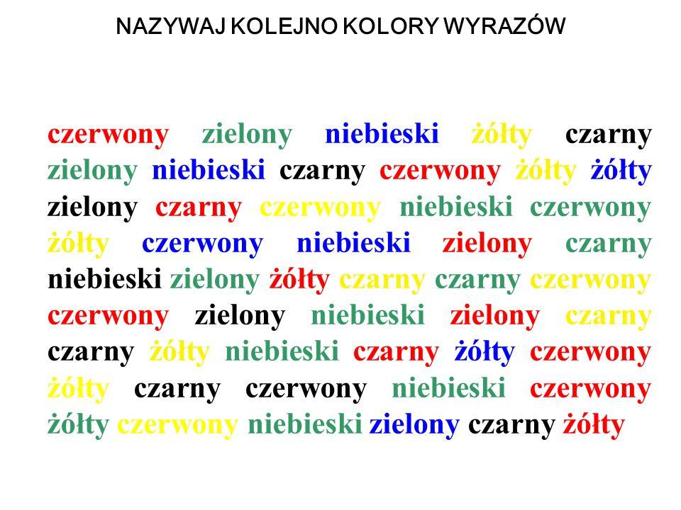 NAZYWAJ KOLEJNO KOLORY WYRAZÓW czerwony zielony niebieski żółty czarny zielony niebieski czarny czerwony żółty żółty zielony czarny czerwony niebieski