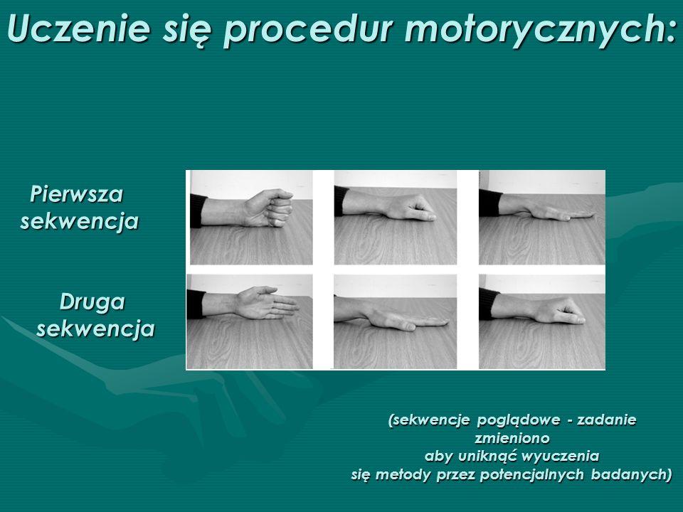 Uczenie się procedur motorycznych: Pierwszasekwencja Drugasekwencja (sekwencje poglądowe - zadanie zmieniono aby uniknąć wyuczenia się metody przez po