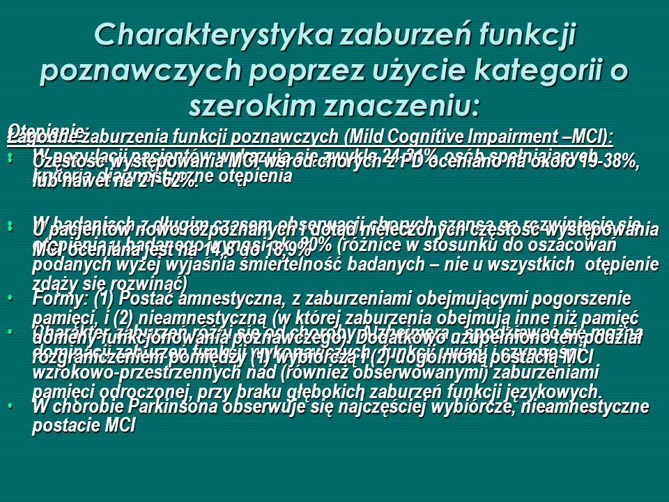 Charakterystyka zaburzeń funkcji poznawczych poprzez użycie kategorii o szerokim znaczeniu: Otępienie: W populacji pacjentów wykazuje się zwykle 24 31