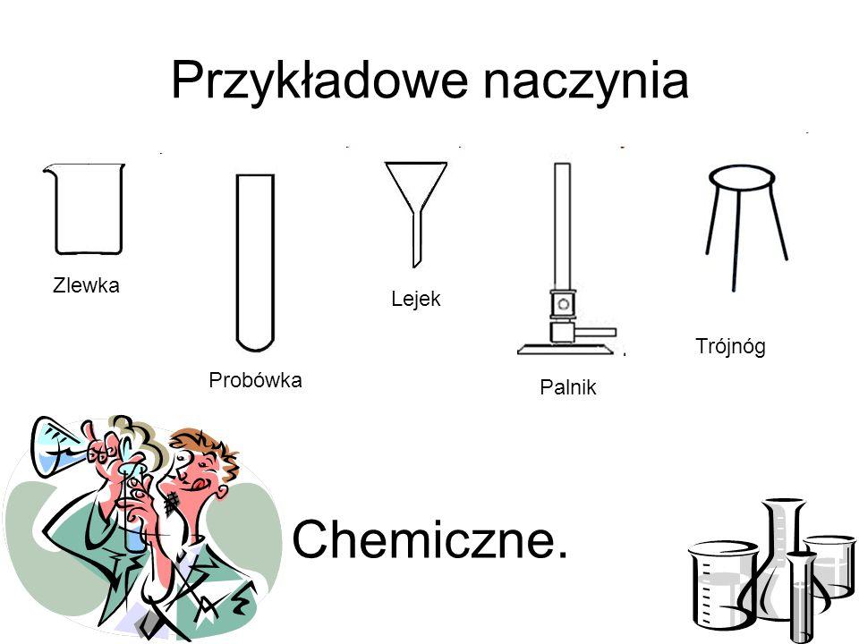 Przykładowe naczynia Zlewka Probówka Lejek Palnik Chemiczne. Trójnóg