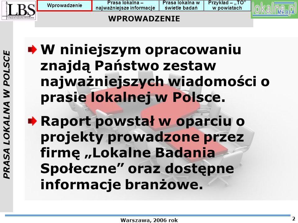 PRASA LOKALNA W POLSCE Warszawa, 2006 rok 13 Prasa lokalna – najważniejsze informacje Prasa lokalna w świetle badań Przykład – TO w powiatach Wprowadzenie CZYTANIE PRASY LOKALNEJ – PODSTAWOWE FAKTY (2) Gazety lokalne są czytane średnio przez 73 % mieszkańców badanych powiatów w wieku 15 i więcej lat (wskaźnik CO – Czytelnictwo Ogółem) Średni poziom czytelnictwa lokalnych gazet w ujęciu tygodniowym wynosi 41 % (wskaźnik CJW – Czytelnictwo Jednego Wydania) Średnie wskaźniki czytelnictwa największych dzienników regionalnych (tylko wydania magazynowe) wynoszą odpowiednio: 34 % CO i 14 % CJW Piątkowa Gazeta Wyborcza osiąga średnio: 30 % CO i 10 % CJW.