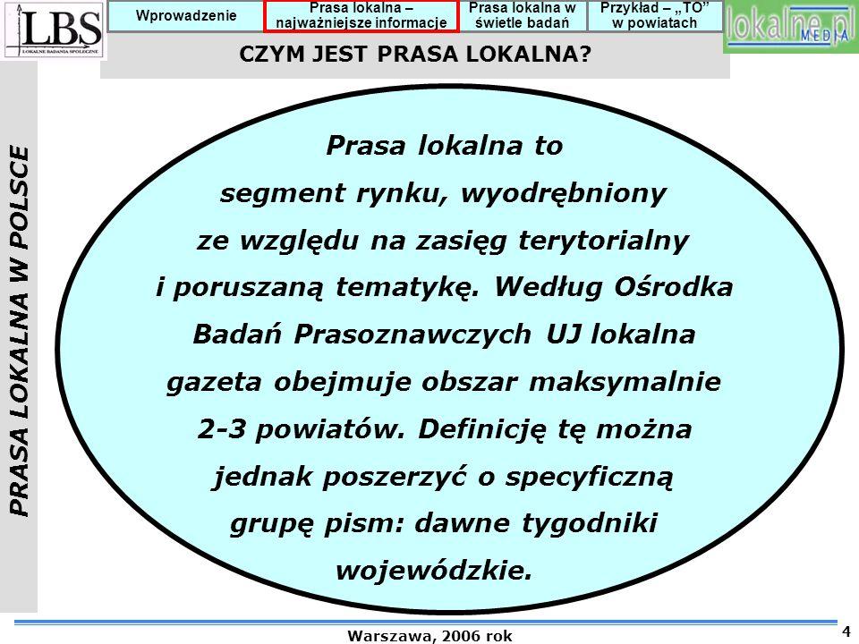 PRASA LOKALNA W POLSCE Warszawa, 2006 rok 5 Prasa lokalna – najważniejsze informacje Prasa lokalna w świetle badań Przykład – TO w powiatach Wprowadzenie Ok.