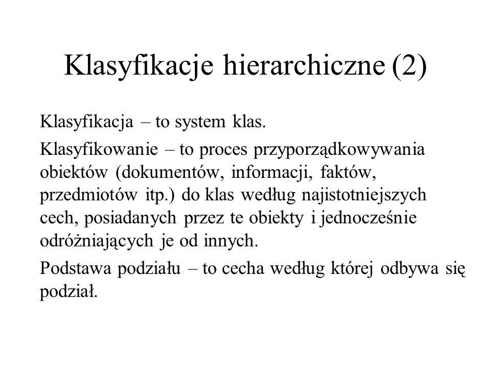 Klasyfikacje hierarchiczne (2) Klasyfikacja – to system klas. Klasyfikowanie – to proces przyporządkowywania obiektów (dokumentów, informacji, faktów,